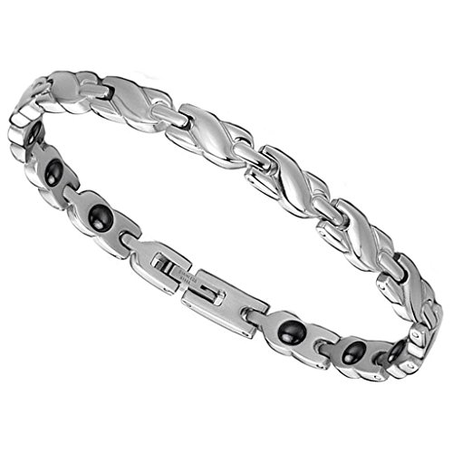 Women's Bracelet Jewerly 316L Stainless Steel Fit Energy Magnetic Stones White 20*0.55CM