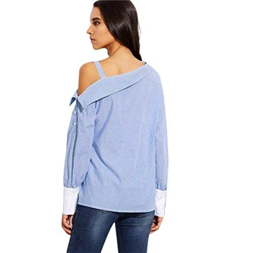 Camiseta de verano para mujer, RETUROM Mujeres de moda azul rayas plegable asimétrica hombro manga larga blusa Azul