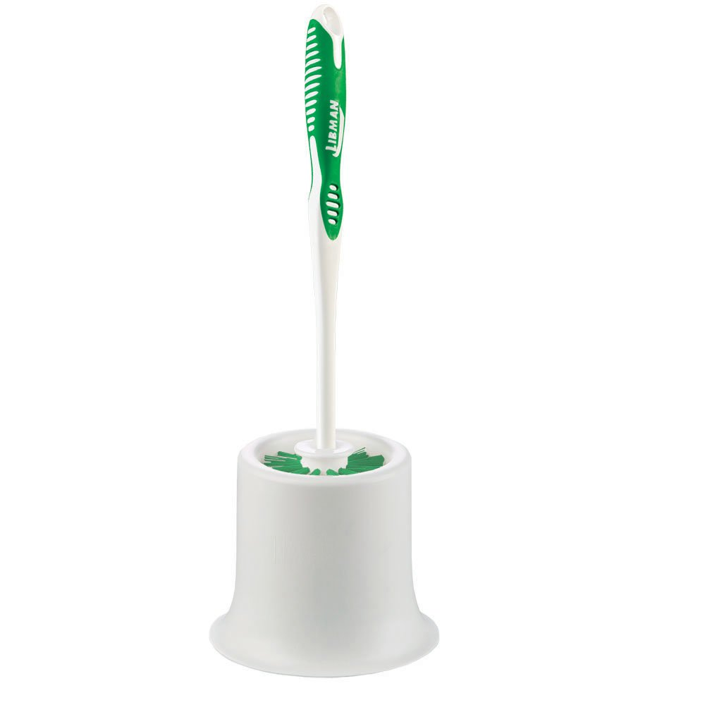 Libman Commercial 34 Round Bowl Brush and Open Caddy, Polypropylene, 15'' standing height, Green and White (Pack of 4)