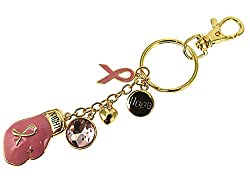 Pink Ribbon Breast Cancer Awareness Boxing Glove Keychain