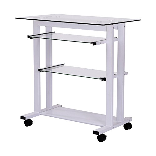 Rolling Computer Desk Cart Glass Top Home Office Table White With Ebook