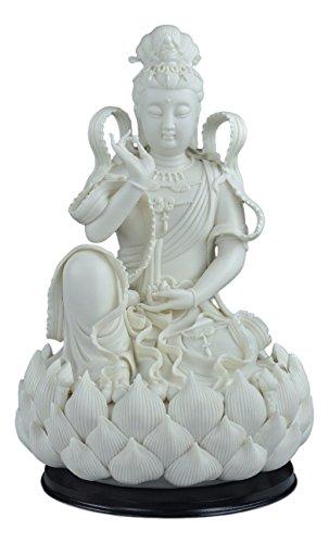 """11.5"""" Fine Porcelain Free Quan Yin Buddha Sitting on a Lotus Statue, Guanyin, Kwan Yin, Kuanyin, Goddess of Mercy, Dehua (White)"""