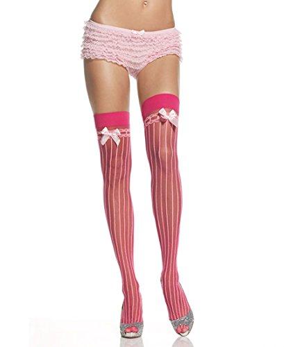 Leg Avenue 9222 Women's Lycra Sheer Pin Stripe Thigh High Stockings - One Size - Pink (Pink Spandex Sheer Stockings)