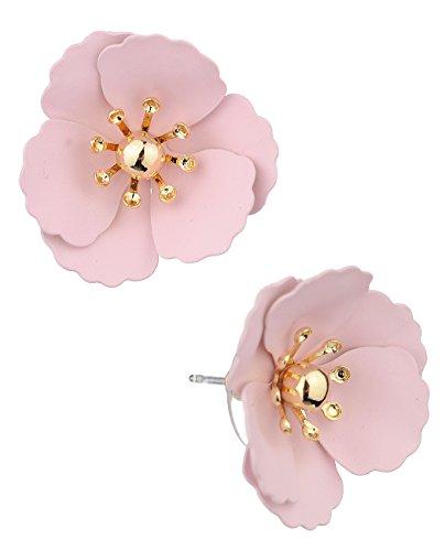 (Women's Metal Matte Flower Petal Stud Pierced Earrings, Light Pink)