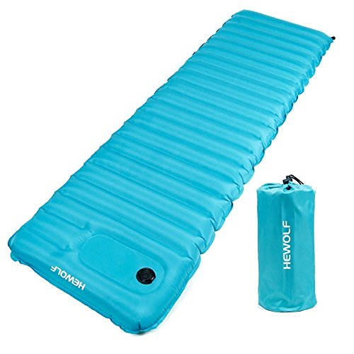 Ultralight Inflatable Camping Sleeping Mat/pad Air Mattress for Backpacking,Tent,Hiking,Beach - Air Core Tube Design with Built-in Foot Pump .