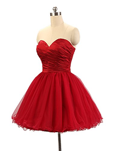 Joanna Women's A-Line Tulle Short Prom Dress Burgundy US 2