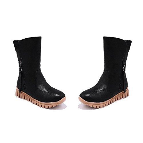 AllhqFashion Mujeres Mini Tacón Puntera Redonda PU Sólido Sin Cordones Botas Negro