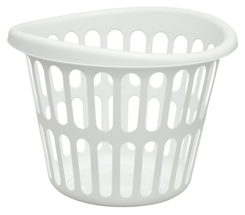Round Laundry Basket (United Solutions LN0017 White Plastic One Bushel Capacity Designer Laundry Basket - 1 Bushel Designer Laundry Basket in White)