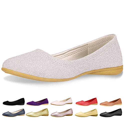 CINAK Flats Shoes Women– Slip-on Ballet Comfort Walking Classic Round Toe Shoes (6-6.5 B(M) US/ CN38 / 9.4'' , - Fancy Shoes Lady Flat