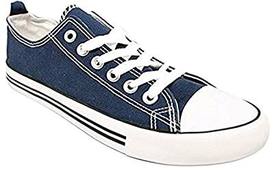 Womens Canvas Sneakers Cap Toe Canvas Shoes Solid Color Low Top Lace Fashion Casual