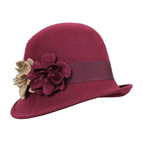 dc4e37412f8 Cranberry Vintage Cloche Flapper Hat w  Felt Flowers   Ribbon Trim ...