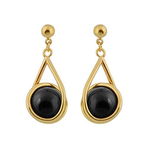 So Chic Jewels - 18k Gold Plated Onyx Black Ball Pendant Dangle Earrings