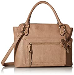 dual handle satchel, zipper closure, removable, adjustable crossbody strap