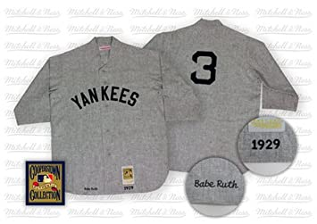 36f8a4ce8d3 Image Unavailable. Image not available for. Colour: Babe Ruth 1929 New York  Yankees #3 Authentic Road Throwback Mitchell and Ness ...