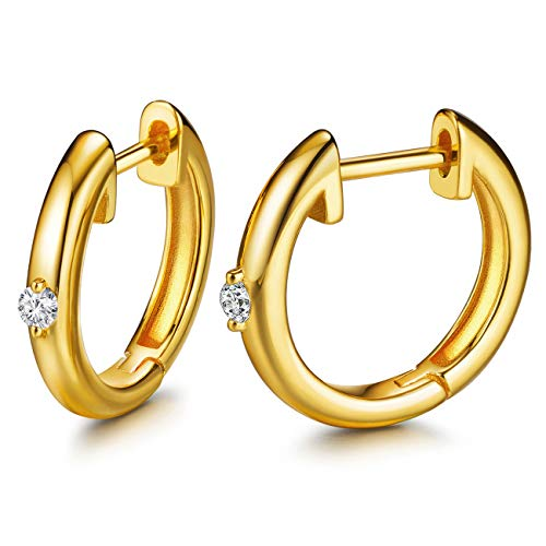 Hoop Earrings 24K Gold Plated 925 Sterling Silver Huggie Earrings For Women And Girl (24k Plated One CZ)