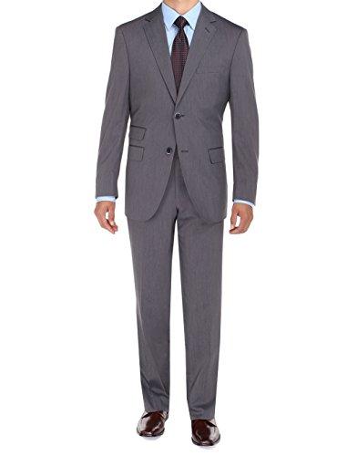 Bianco B Men's Two Button Ticket Pocket Jacket Flat Front Pants Modern Fit Suit (44 Regular US / 54 Regular EU, Grey)