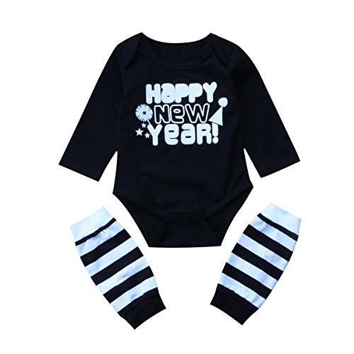 Newborn Baby Boys Girls Long Sleeve HAPPY NEW YEAR Bodysuit Romper + Leg Warmer Outfits Set (70 (0-6M), (70 S Outfit)