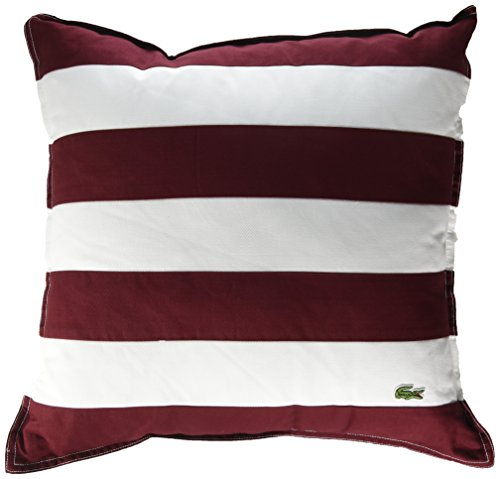 Lacoste Brushed Twill Stripe 18x18 Throw Pillow, Cabernet