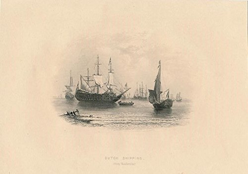 Dutch merchant ships Holland 1853 old European view print (Dutch Merchant Ships)