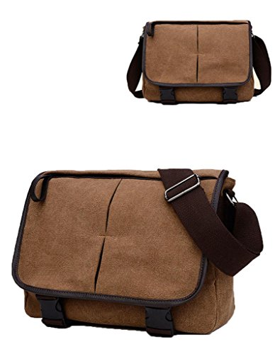 Auspicious beginning Unisex informal sencillo libro estudiante bolsa de bolsa de mensajero marrón marrón