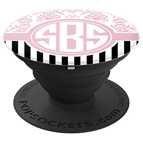 - SBS Monogram Pop Socket Pink Damask Initials SBS or SSB - PopSockets Grip and Stand for Phones and Tablets