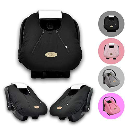 Cozy Cover Infant Car Seat Cover (Black) - The Industry Leading Infant Carrier Cover Trusted by Over 5.5 Million Moms Worldwide for Keeping Your Baby Cozy, Warm
