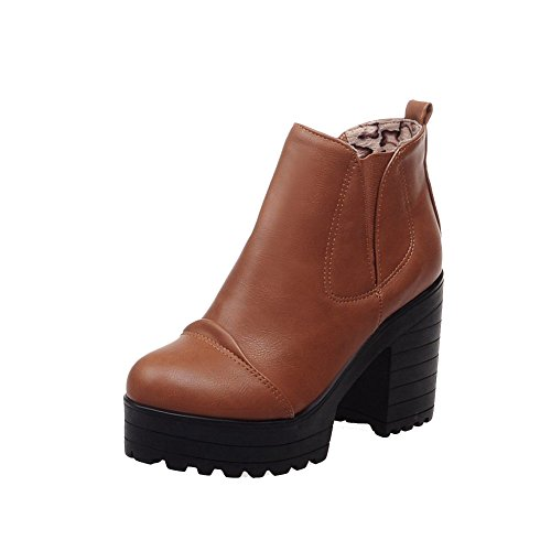 AllhqFashion Womens Round Closed Toe High-Heels Soft Material Ankle-high Solid Boots Brown oJAkT