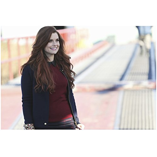 Rebecca Mader 8x10 Photo Once Upon a Time The Devil Wears Prada Iron Man Navy Zipper Jacket Over Maroon Sweater Walking Smiling kn
