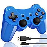 Double Vibrating Wireless Controller for PS3 With Charge Cable (Bright Blue)