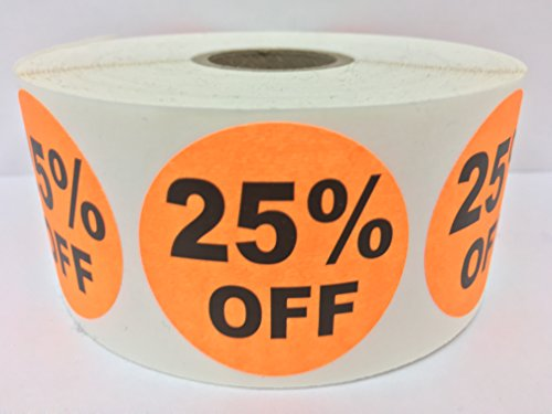 "1000 Labels 1.5"" Round Orange 25% OFF Point of Sale Discount Pricing Retail Stickers 1 Roll"