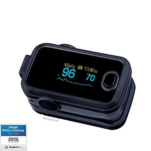 Kernmed OLED Finger Pulsoximeter A310 schwarz +Alarm+Signalton+Zub. Oxymeter