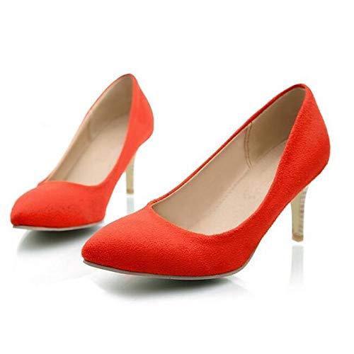 Heel Gray Zapatos Mujer Red Silver Suede de Stiletto ZHZNVX Comfort Spring Red Heels 8qgFxwxv