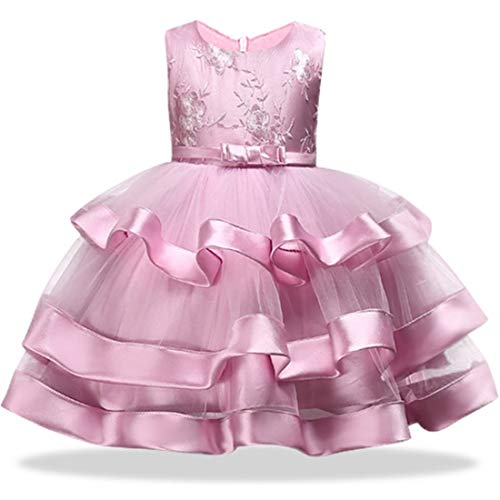 Girl Dress 18-24 Months 3T Pink Prom Halloween Christmas Flower Dress for Girl 3 Years Old Sleeveless Ruffle Embroidered Floral Tutu Dress for Kids 2-4T Wedding Birthday Party Dress Cute (Pink 100)