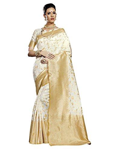 Designer Sarees Woven Work Banarasi Silk Saree for women With Unstitched Blouse Piece (Cream) (White Silk Saree)
