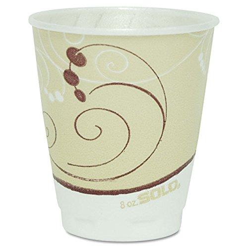SOLO X8J8002PK Symphony Design Trophy Foam Hot/Cold Drink Cups, 8oz, Beige, -