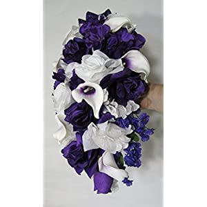 Purple White Rose Calla Lily Cascading Bridal Wedding Bouquet & Boutonniere 104