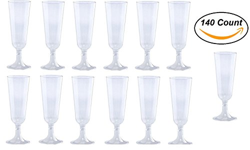 140 pc Clear Plastic Classicware Glass Like Champagne Wedding Parties Toasting Flutes Party Cocktail (Wedding Party Glasses)