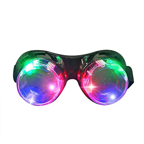 Mad Scientist Glasses (DAXIN DX LED Flashing Windproof Glasses Light up Rave Costume Eyewear Cool Goggles Toys, Colorful LED Lights, Party Favors)