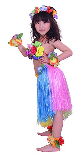 Tahitian Hula Costume (Fighting to Achieve Child Hula Costumes Hawaiian Rainbow Outfits 7pcs/15.75