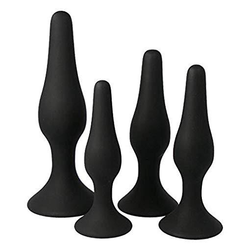 FOE65-4Pcs/Set Silicone Waterproof with Suction Cup Black Másságer Adúllt Bū^tt Plù^gs an-âl Pl-ùg Béads (Black-W)