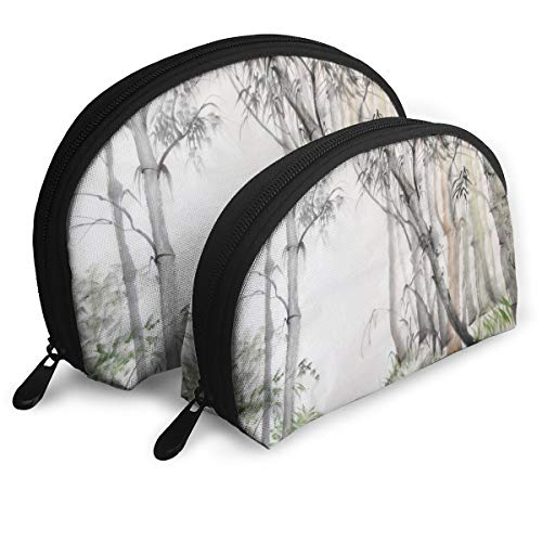 Oximing Customized Bamboo Forest Seashell Portable Zipper Bag (2 Packages), Suitable for Men, Women, Cosmetics, Tools, Handbags/Handbags, Suitcases, Women's ()