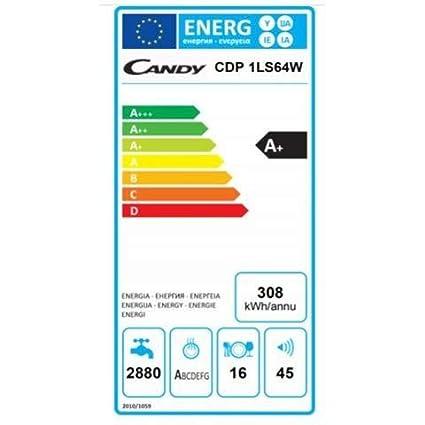 Candy - Lavavajillas CDP 1LS64W Capacidad 16 cubiertos Clase A+ ...