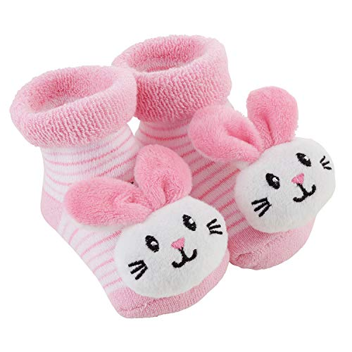 Stephan Baby Rattle Socks, Stripey Pink and White Bunnies, Fits 3-12 Months ()