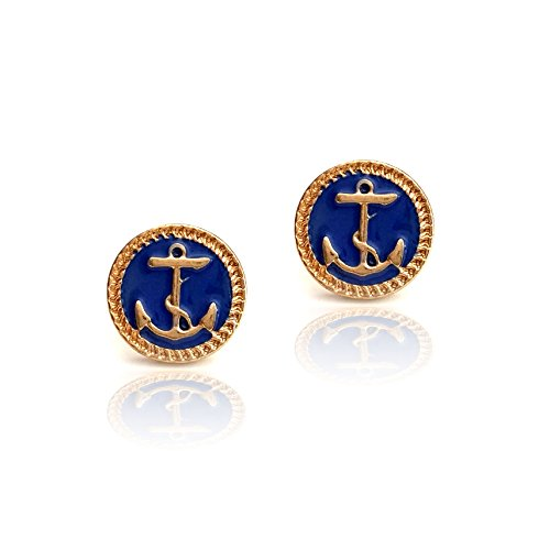 Small Golden Anchor Post Earrings with Navy Blue Enamel