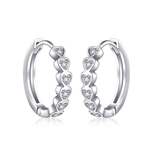 (925 Sterling Silver Pave Cz Heart Small Hoop Earrings for Women Girls Birthday Gift)