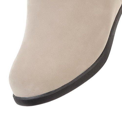 VogueZone009 Damen Flaum Futter Rund Zehe Mittler Absatz Ziehen auf Rein Stiefel Aprikosen Farbe