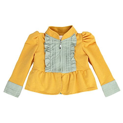 Jacket French Kiss (LELEFORKIDS- Toddlers and Girls French Terry Knitt | Kiss of Joy Zip-Up Jacket in Mustard Yellow 7/8)