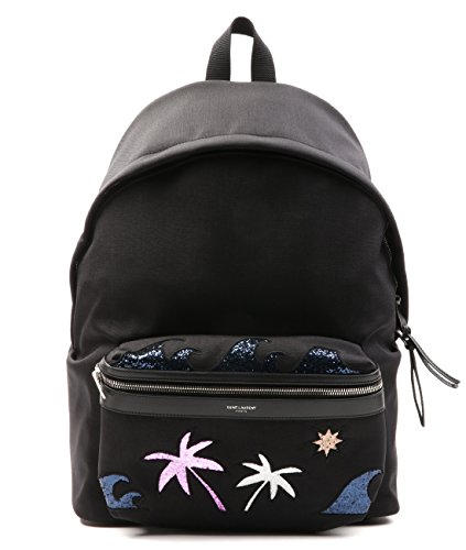 Wiberlux Saint Laurent Men's Glittered Beach Theme Detail Backpack One Size Black