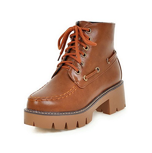 AgooLar Women's Low-Top Lace-up Soft Material Kitten-Heels Round Closed Toe Boots Brown