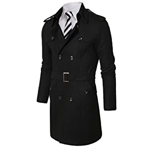 Doublju Mens Wool Coat with Belt BLACK (US-S)
